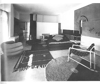 E1027 Main Living Area (period photograph) - as we intend to restore it and leave permanently on site. (Note: Le Corbusier's subsequent wall murals will remain intact.)