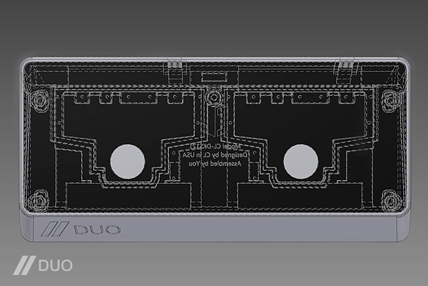 Prototype A - Transparent CAD renders of the first DUO Enclosure