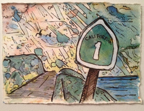 Example: hand made ink/watercolor postcard.