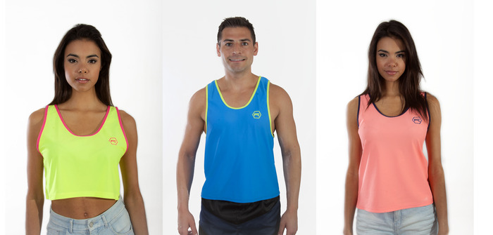 From Left to Right: Highlighter w/ Neon Pink Trim; Neon Blue w/ Highlighter Trim; Peach w/ Navy Trim
