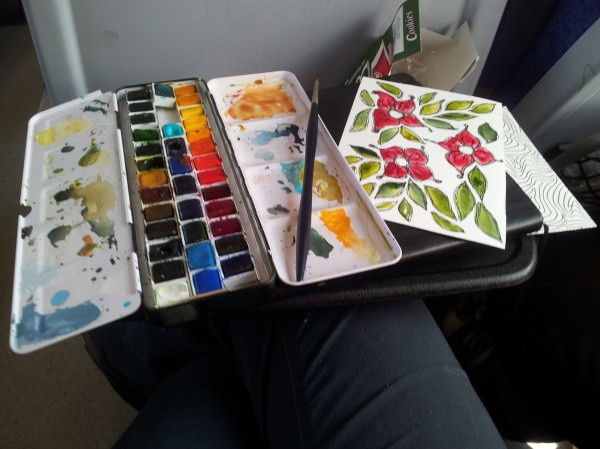 And here's my mobile studio last summer; this was on a train travelling through Greece