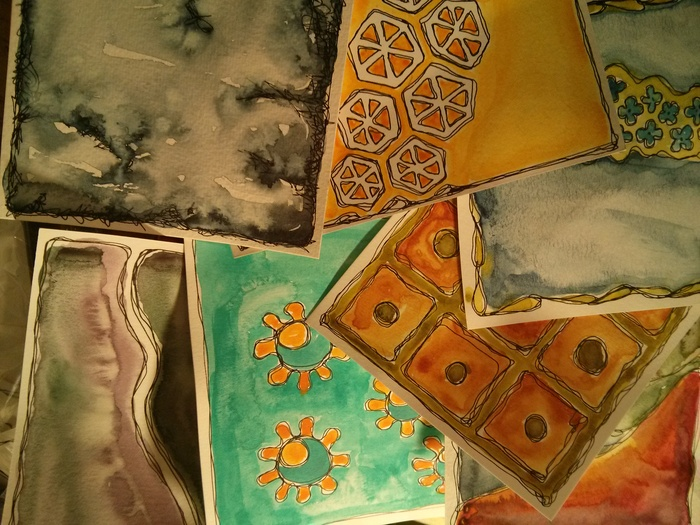 In my studio there are lots of postcards waiting for homes right now