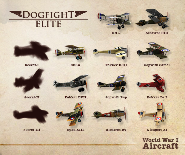 Dogfight Elite WWI airplanes already included in the prototype. Contribute to help us announce the secret planes!