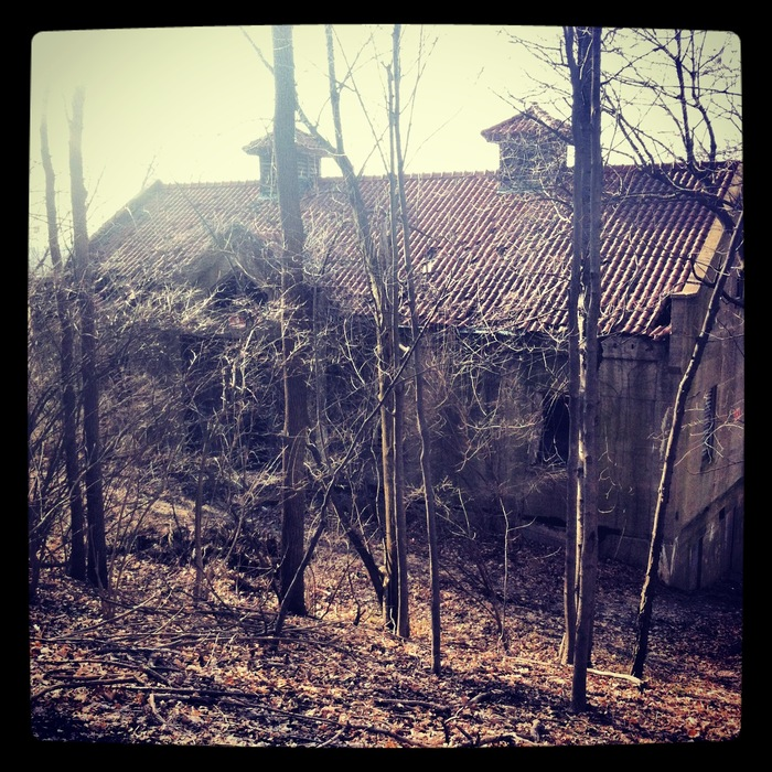 Location #1. Back view of the broken down scary church.