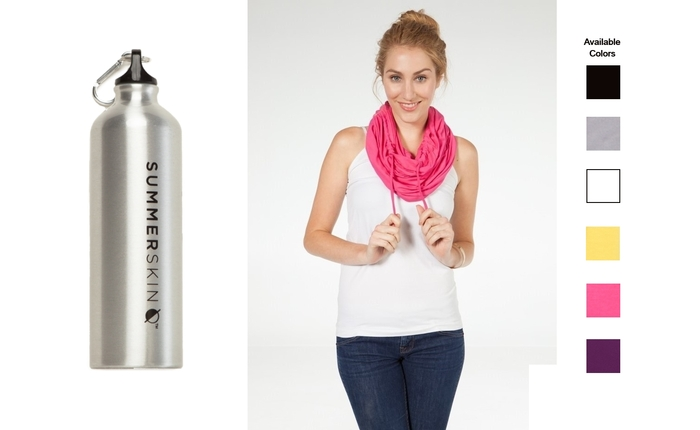Stay hydrated and protect your skin with the SUMMERSKIN aluminum water bottle and an Endless Summer Scarf™ in the color of your choice.
