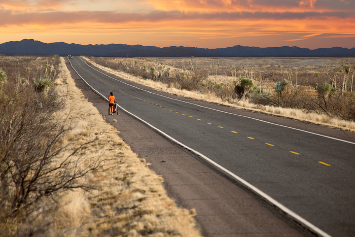Zoë is finishing her 30 miles of the day somewhere in New Maxico, as I documented her run across the USA in 2011.