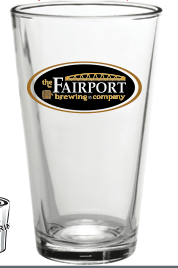 "Nucleated Fairport Brewing Company Logo Pint Glass!  Totally Nucleated with the words....""Lift the bridge,""  located in the inner bottom of the glass.  Aids in head retention!"