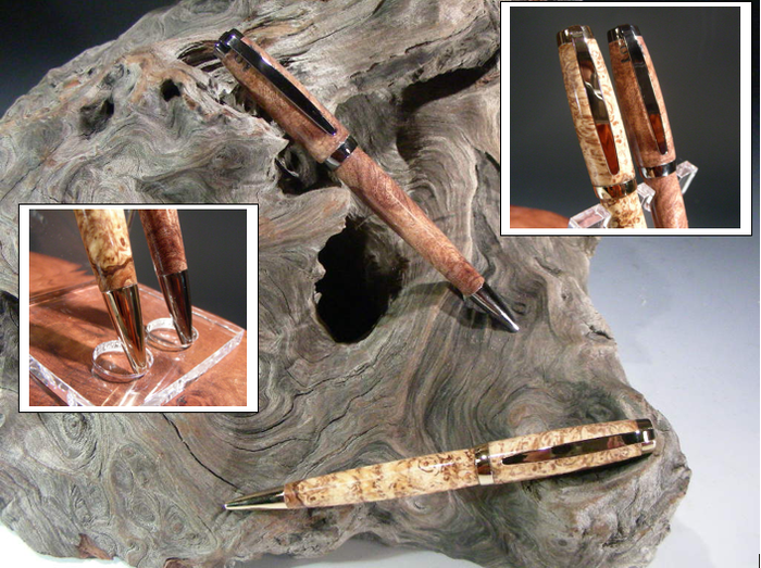 Graduate Pen shown in 24k Gold in Ambrosia Maple and Gun Metal in Mesquite Burl.