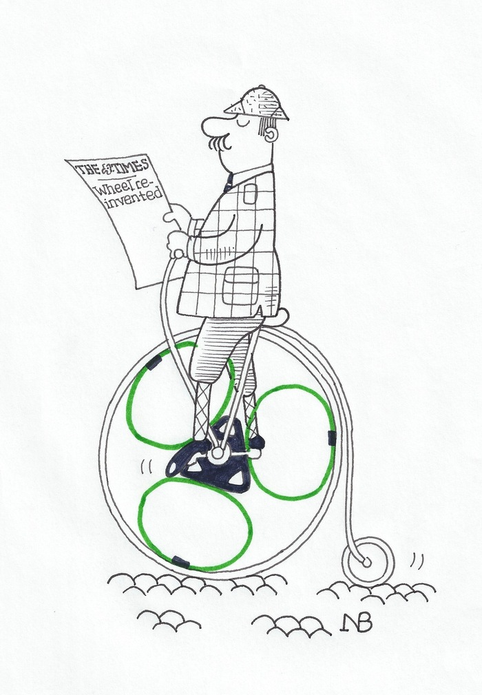 NB's cartoon of a loopwheels Penny Farthing - you can pledge for a print of this cartoon