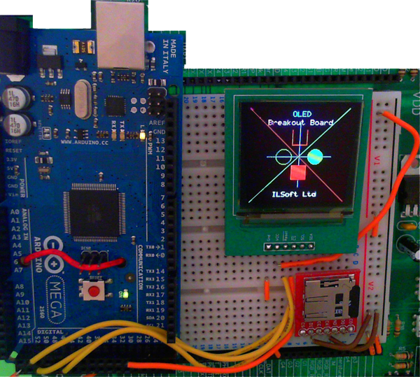 Arduino driving the OLED screen. (Artifacts due to refresh-rate)