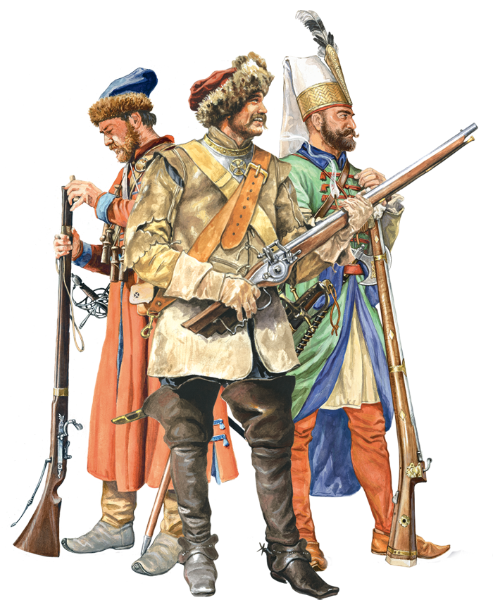 Picture of Jannissary, Muscovite Strelets and Polish dragoon.