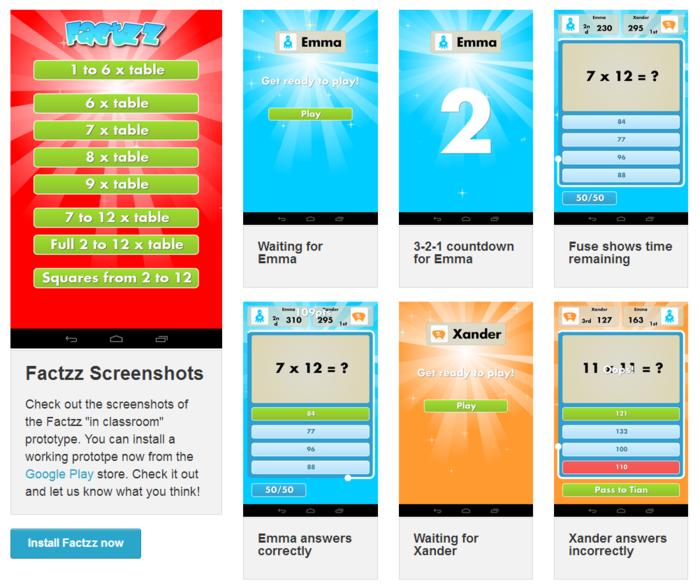Screenshots of prototype