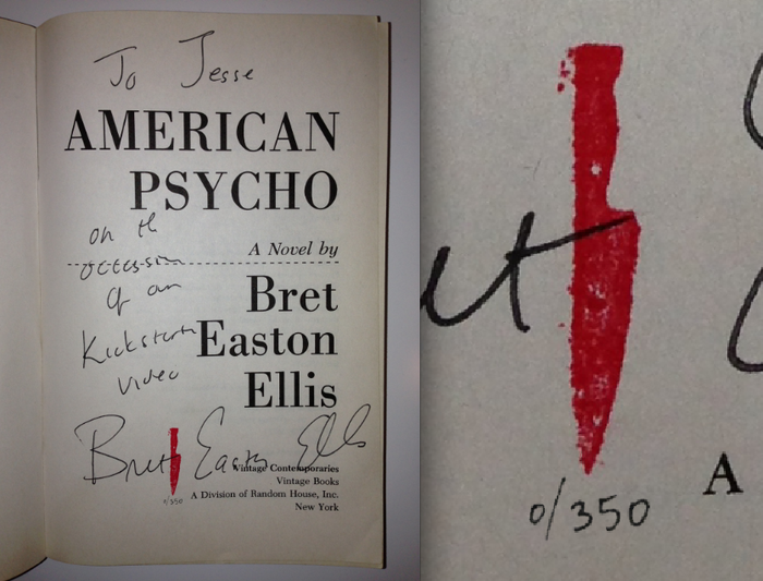 "Limited ""Red Knife"" series of the Vintage paperback copy of American Psycho, signed and personalized by Bret Easton Ellis"