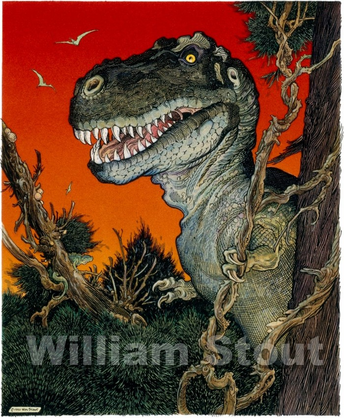 "W. Stout's ""Red Rex"" made eye-popping video cover art, and now a spectacular 16 X 20 inch art-print. See $40.00 pledge"
