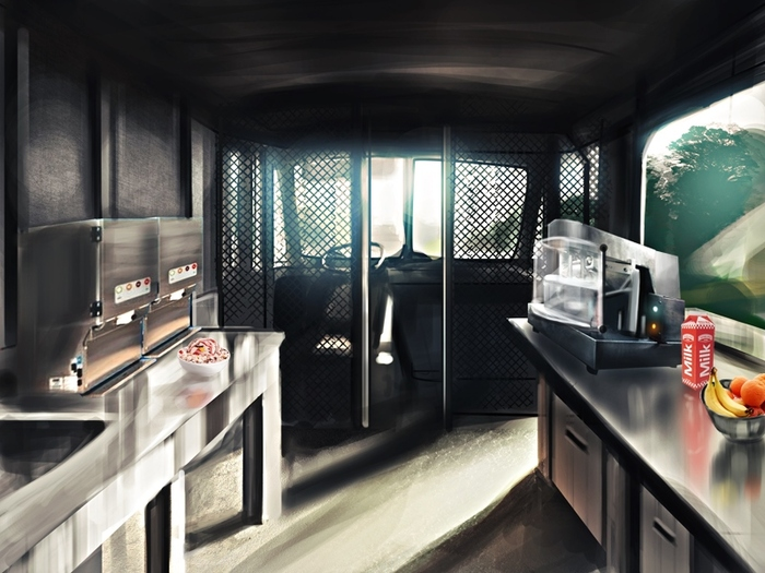 Concept art of a finished interior.