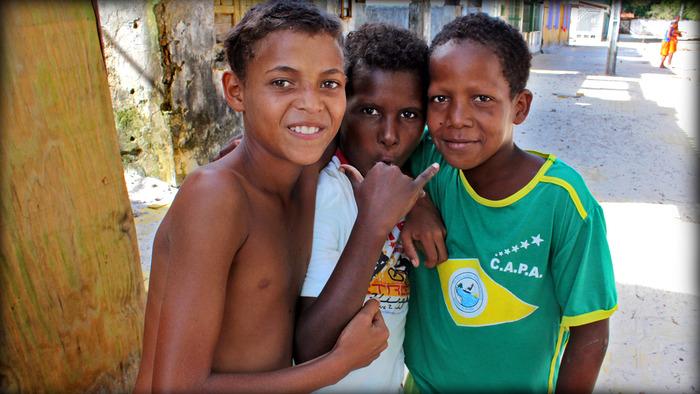 Three best friends in Morro de Sao Paulo, BA, Brazil
