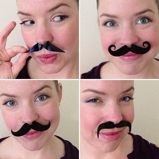 Set of 4 laser-cut black acrylic mustaches