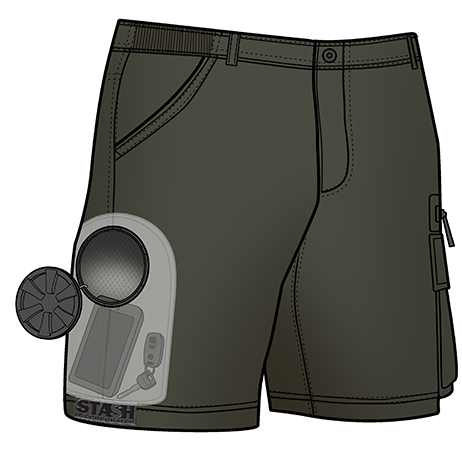 Stash Shorts - Olive Color (X-ray view of Stash Pocket inside)