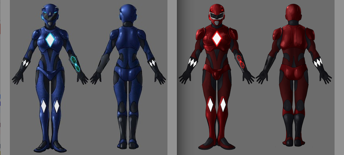 The latest rendering of our Blue and Red Rangers from costume designer Robert Casanova -- this is an example of what the helmet will look like that you can receive for the $2500 level!