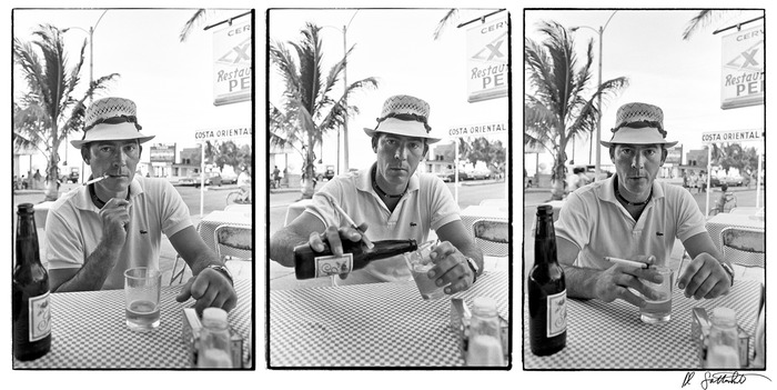 a Triptych of Hunter at Pepe's Bar one afternoon