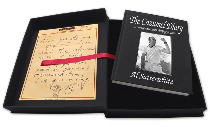 The Cozumel Diary in a clamshell box with the letter from Hunter