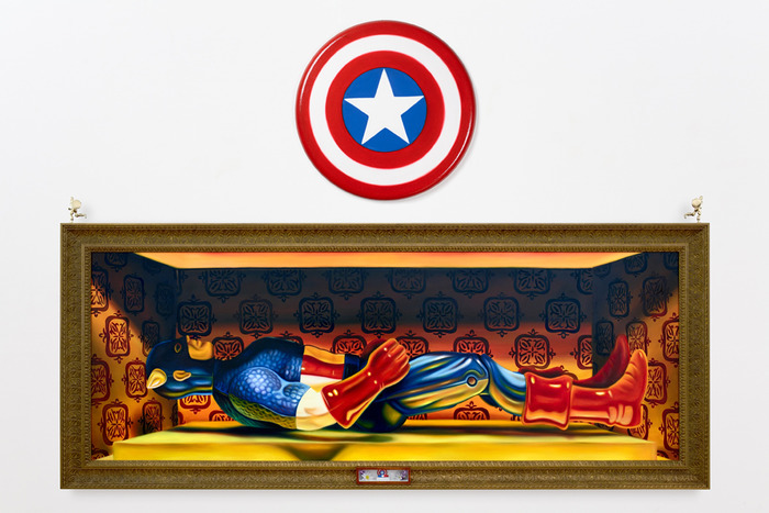 """Toy Biz' Captain America"", 40""x108"", oil on canvas"