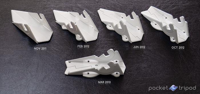 Design evolution of the Pocket Tripod shown through milestone rapid-prototypes.