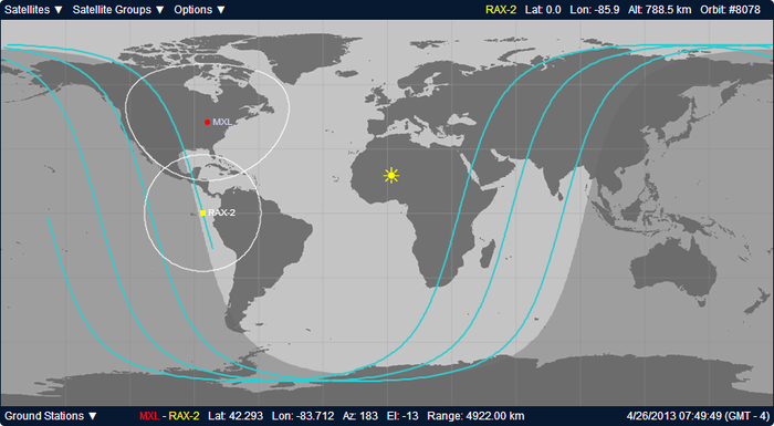Orbit tracking software for RAX-2, a UofM satellite currently in orbit. The light blue arcs are the ground tracks of the current orbit and the last two orbits. The white circles are the range of the communications systems.