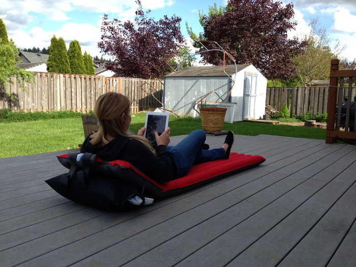 Windcatcher Air Pad + Air Bag = AWESOME! Combining the Air Bag and Air Pad makes it perfect for using an iPad or reading. (For more info on the Air Bag, scroll to the bottom)
