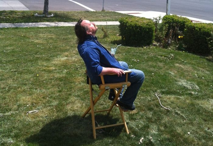 Courtesy of Audrey Rock. Filmmaker Richard Dutcher, photographed relaxing in front of his Utah County home on May 4, Day 6 of a three-week water-only fast.