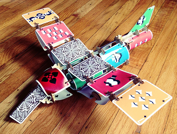 Plane built with Mustache Skallops and prototype printed Mustache Playing Cards