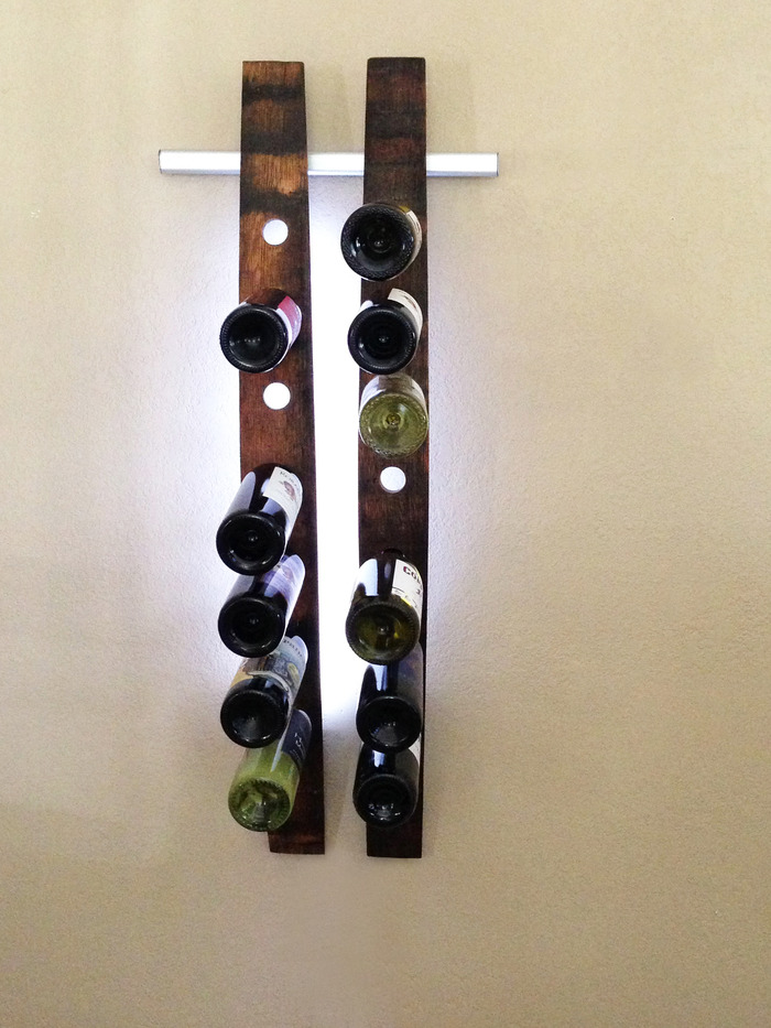 Lumi Wine Wall with two wine staves holds 14 bottles of wine includes all hardware, 48  SuperBright LEDs and two 12V wall transformers or two battery packs. Once our project ends the two Lumi Wine Wall will retail for $270.00.