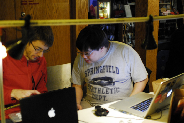Terence and Johann at 3D Printer Night, Metrix Create Space