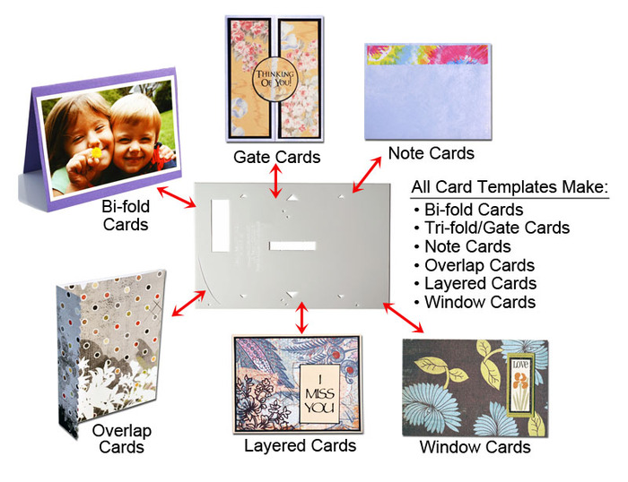 All card templates offered will make six different kinds of cards: bifold, trifold, note, overlap, layered, and window cards!