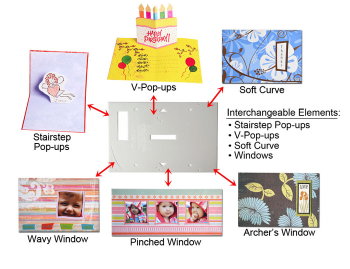 """PLUS! There are many interchangeable elements between the card templates. Specifically, the pop-up guides on the A2 & A7, and the """"soft curve"""" guide on the A2!!!"""