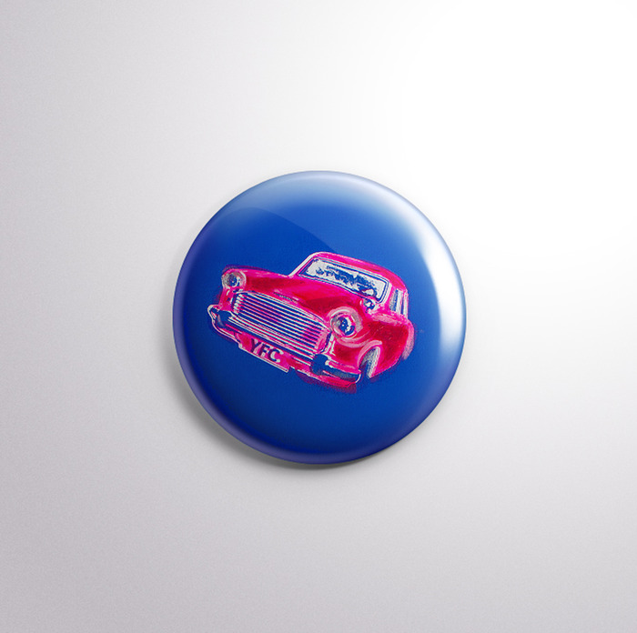 Blue & Pink Cars pin, option #1. Which one do you prefer, this one or the one below?
