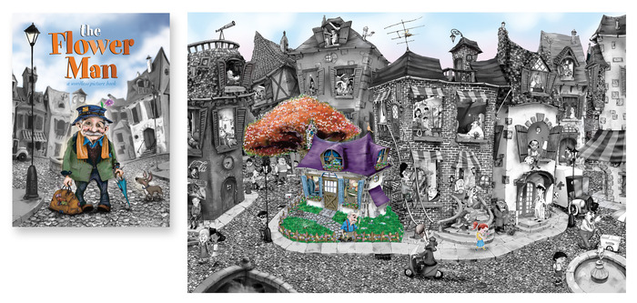"""The Flower Man"" was my first wordless picture book. It's about a man who comes to this depressed city street, buys an old shack, fixes it up - all the while everything he touches turns to color! Every window tells a different story! Over 60!"