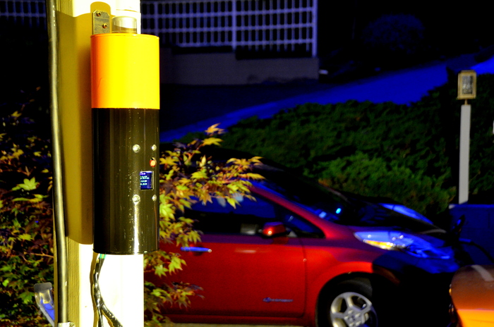 One of the prototypes we built - shown here charging a 2013 Nissan Leaf