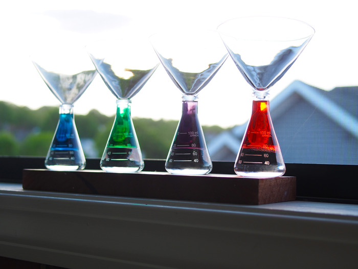 It's a rainbow. Martini in Blue, Green, Purple, and Red