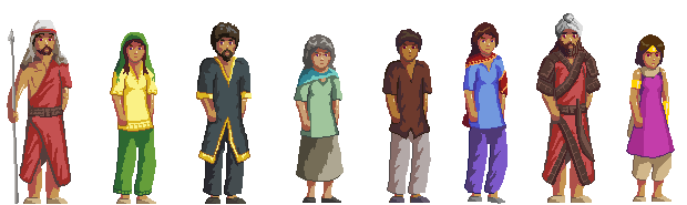 Basic characters from in-game. Things like wounds, equipment, fighting moves will need extra art.