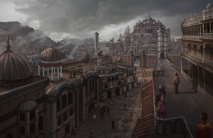 The city of Bhimra, as viewed from the main market district.