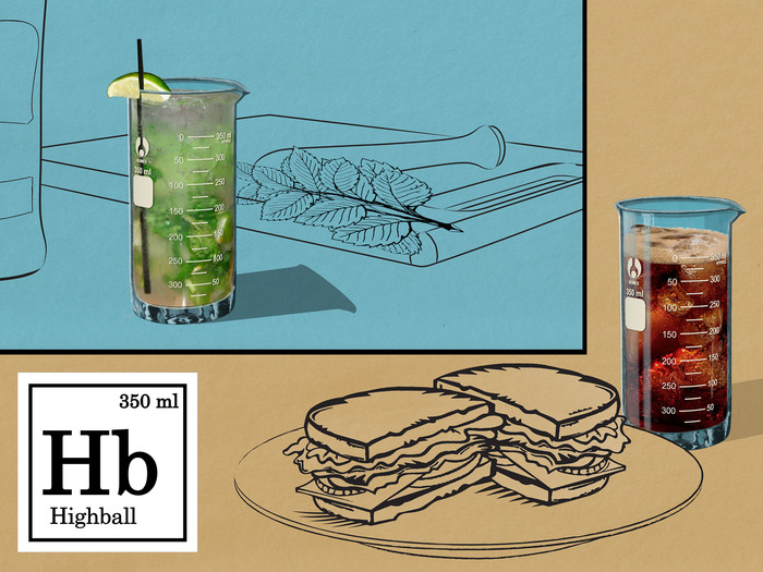 Sketched renders of the Highball Glass and its drinkatory uses