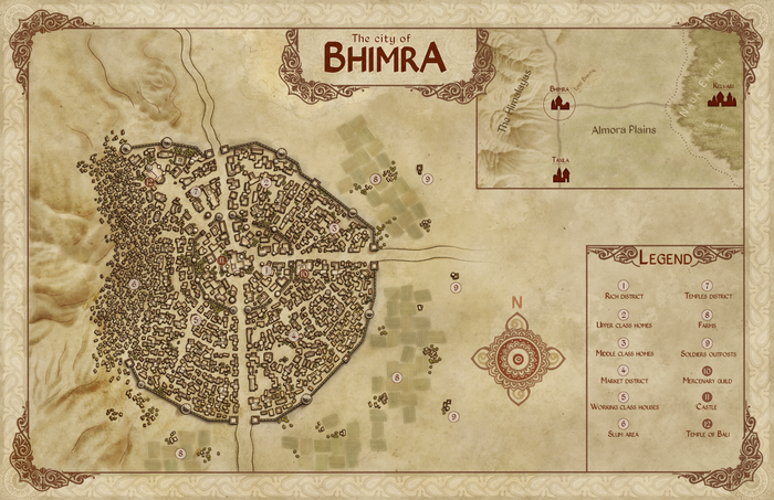 The map of the city.