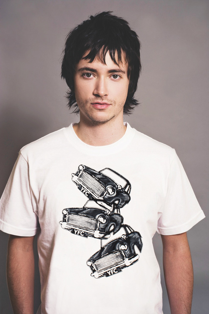 Option #1 for men's T-shirts, with three Bouncing Cars