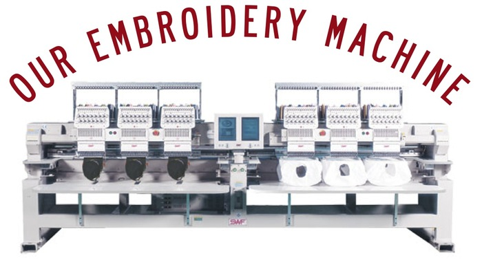 With this machine we will not only be able to embroider but also stitch down your cut out felt letters and more. Reference an example of this below in our bucket hat template.
