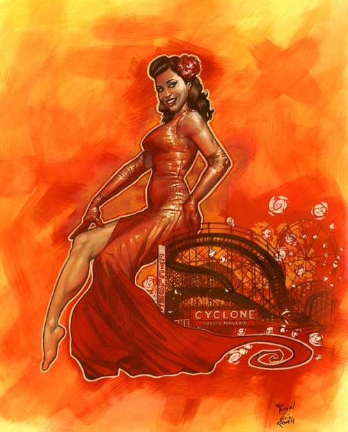 Burlesque's femme fatale posing alluringly top her Coney Island namesake. Signed by Eric Powell and Angie Pontani!