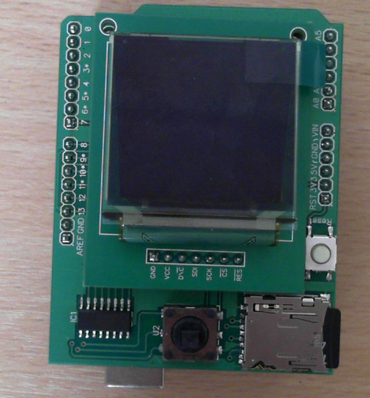 Colour OLED Breakout Board on the Arduino Shield