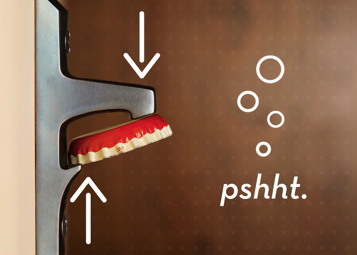 Stout applies pressure to opposite edges of the cap to create an optimal opening experience. Pshht. Can you hear it?
