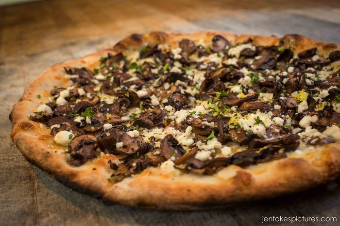 Hood River Organic cremini mushroom & goat cheese pizza with lemon zest