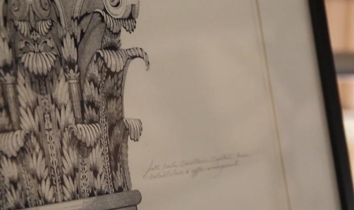 Close-up of previous Pen & Ink Drawing of a Corinthian Pillar